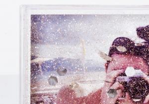 Rama foto Glitter-- cascada prafului aur holografic