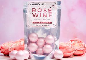 Rose wine bath bombs -- scalda-te in vin rose