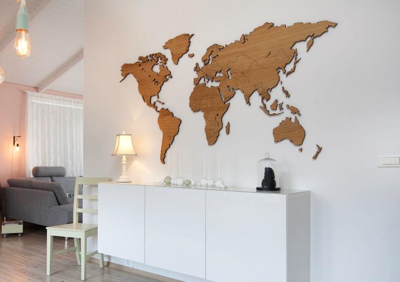 Harta lumii WoodenLife XL --Stejar, nuc, sapele image