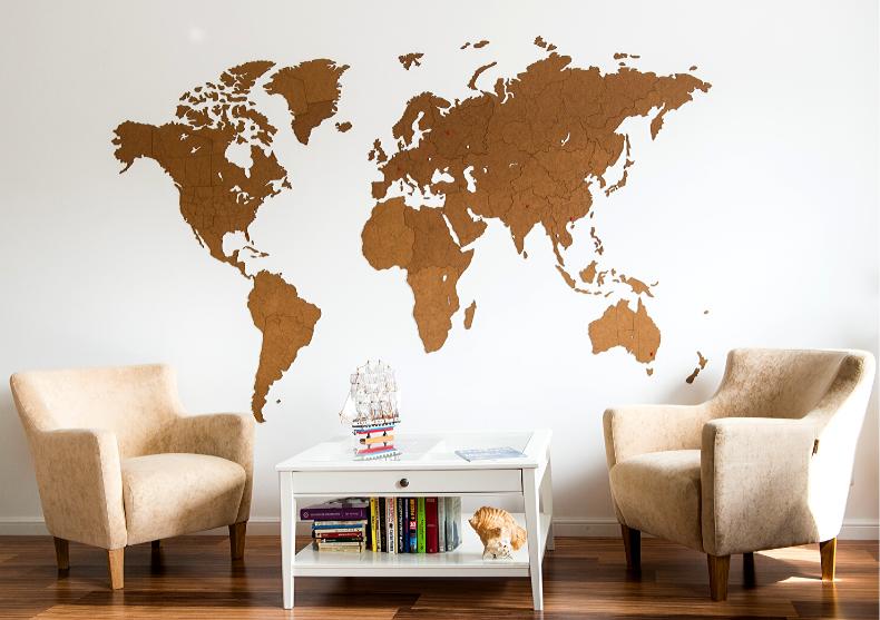 Harta lumii WoodenLife XXL -- natur, negru image