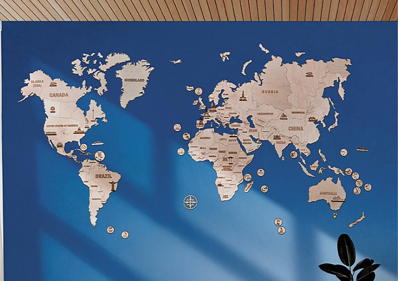 Harta lumii Wood trick XXL -- din lemn ecologic image