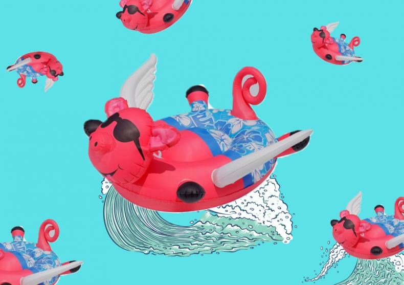 Flying pig gonflabil -- senzatie majora la pisicina image