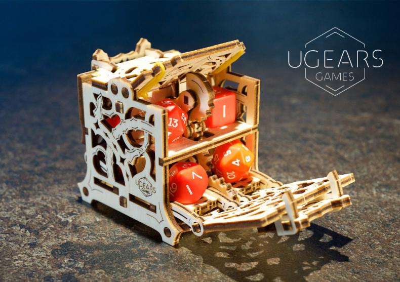 Cutie mecanica pentru zaruri -- husa din lemn  image